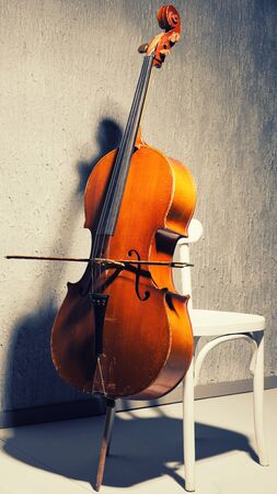 Violin on chair at school or practice room ,During the practice break time to prepare For the concert.