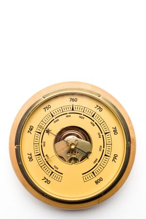 Vintage style barometer isolated on white wall background - image