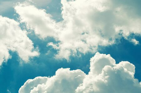 Incredibly wonderful lush cumulus clouds against a blue sky - Image Zdjęcie Seryjne