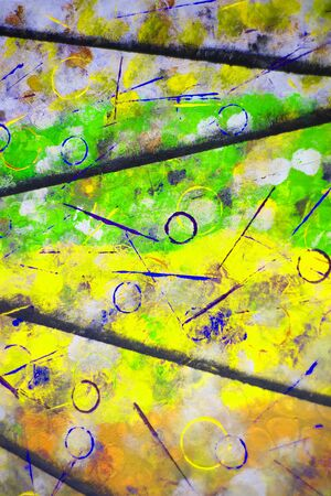 Element of abstract acrylic painting. Circles and lines of different colors - image