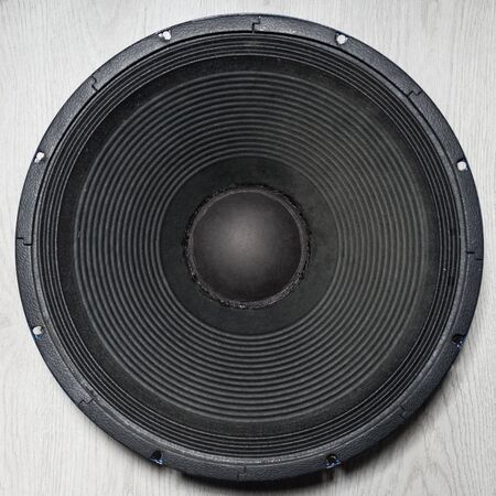 Professional subwoofer speaker 18 inches, on white background, isolated