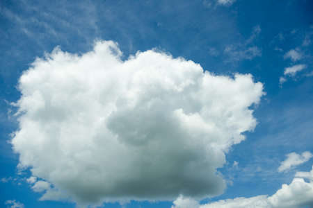 Blue summer sky white cumulus clouds background -image