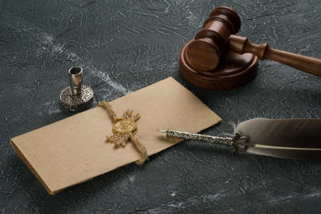 Notary public, attorney. Law concept with stamp in courtroom. law judge contract court legal trust legacy stamp.
