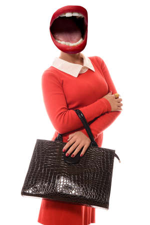 Collage of open mouth instead of a woman's head in a red dress with a brown bag standing on white background