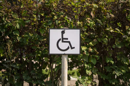 Road sign on a background of asphalt. Disabled parking. The texture of the tarmac, top view. Zdjęcie Seryjne