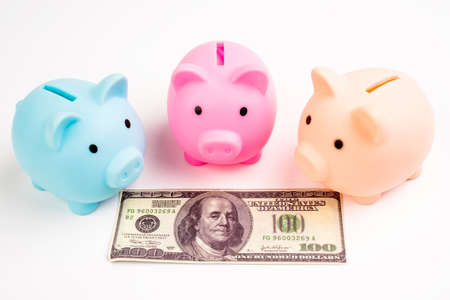 Three pig piggy bank on american dollar on white background.