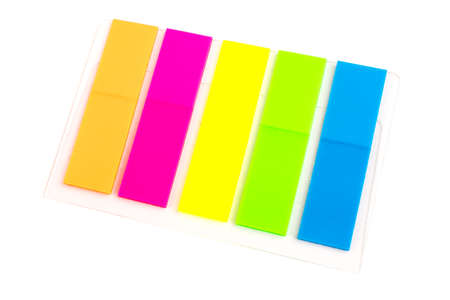multi-colored stickers, bookmarks, 5 pieces, orange, pink, yellow, green and blue on a background, isolated on a white. 免版税图像