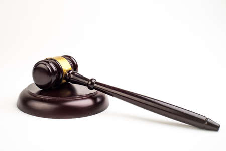 Judge's gavel on light background, top view. Law concept.