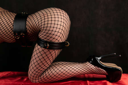 Beautiful woman in a fishnet on the whole body lying on the red bed linen in set. Adult game