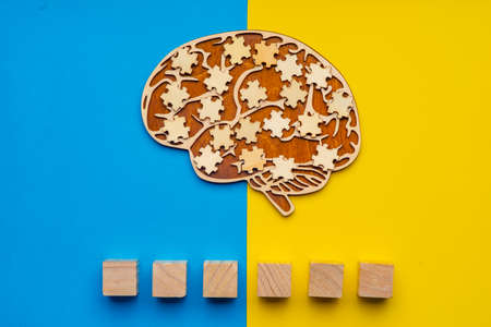 Mock up of a human brain with scattered puzzle pieces on a yellow and blue background. Six cubes in which you can write the word autism in your font. 免版税图像