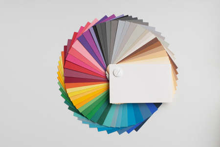 Color palette, guide of paint samples, colored catalog Standard-Bild