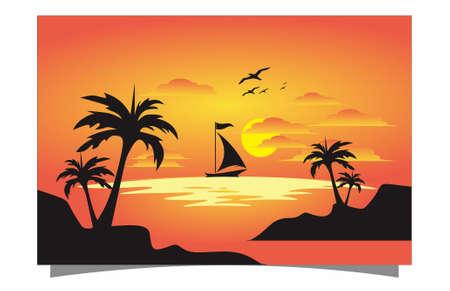 orange background with boat and sunset Illusztráció