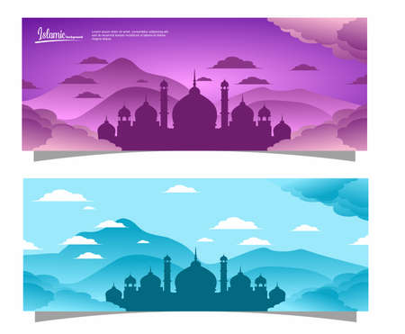 flat design with Islamic concept and mosque Illusztráció