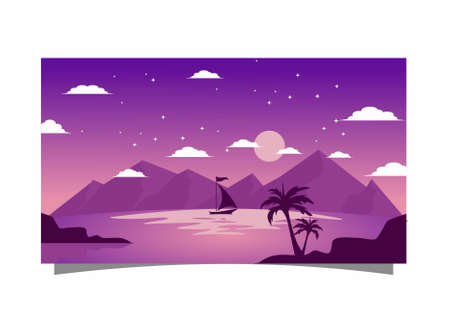 purple background with boat and mountain at night Illusztráció