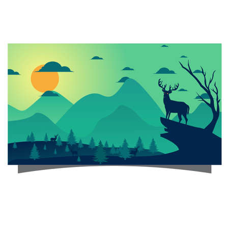 flat background landscape with trees and deer