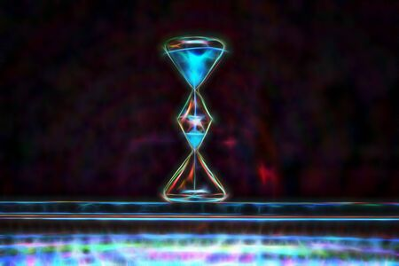 Modern hourglass on purple background close-up in the center. Neon art modern style 版權商用圖片