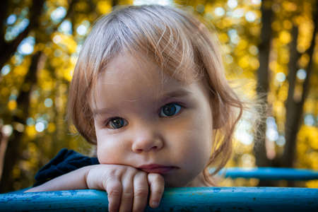 Toddler child little girl sad in the park against the background of autumn foliage. Summer is over. Portrait of a pensive sad girl