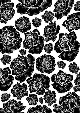 rosas negras: Black roses background isolated Vectores