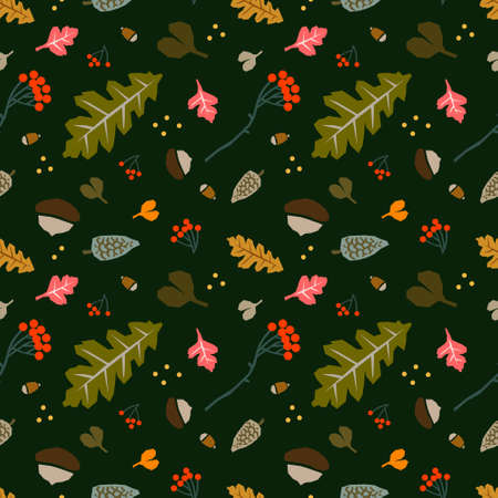Autumn color palette maple leaves acorn pine cone seamless surface pattern design