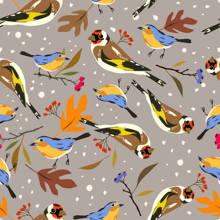 Autumn birds repeated seamless pattern with goldfinch, robin and plants elements for fabric and surface design non directional Vettoriali