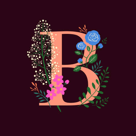 Whimsical floral botanical monogram alphabet-capital B elements with burgundy background Illusztráció