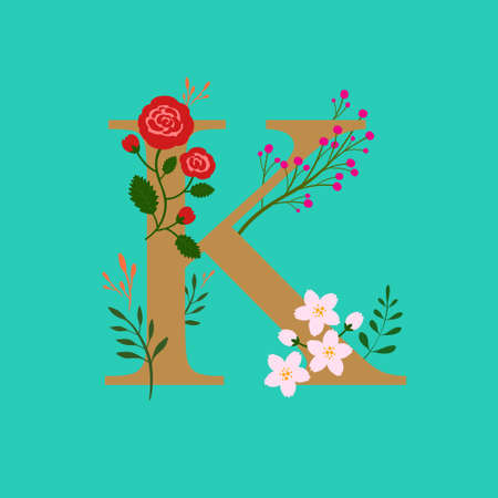 Whimsical floral botanical monogram alphabet-capital K elements with turquoise background and gold color type