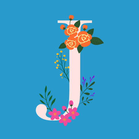 Whimsical floral Monogram alphabet-capital J elements with blue background and light pink font