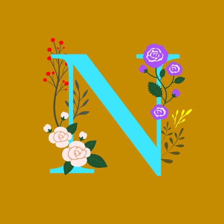 Whimsical floral botanical monogram alphabet-capital N elements with mustard brown background and sky blue color font