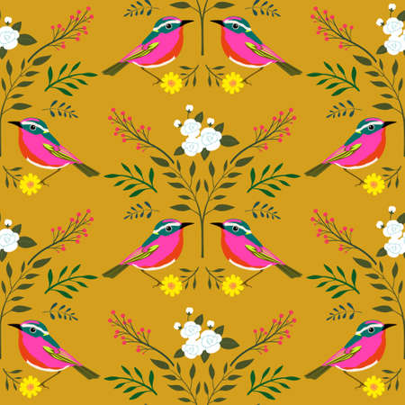 Folk art style whimsical birds and botanical illustration seamless symmetrical pattern, brick offset, wallpaper, wrapping, surface design, textile design, fabric, repeated