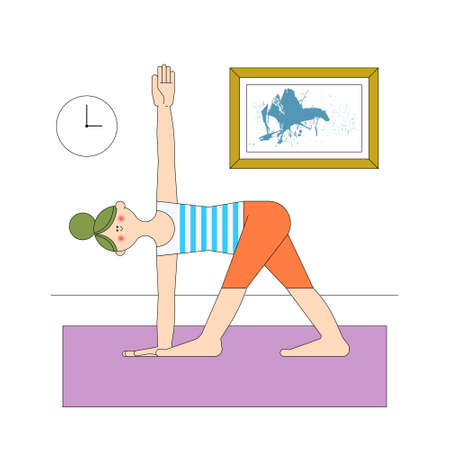 stay home Lockdown activity self care yoga girl mindfulness exercise for quarantine booster immunization fight the virus and diseases vector illustration art