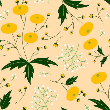 retro vibe folk art style vector dandelion seamless repeated pattern simplistic minimal botanical wallpaper ornament, ornate, decoration background texture