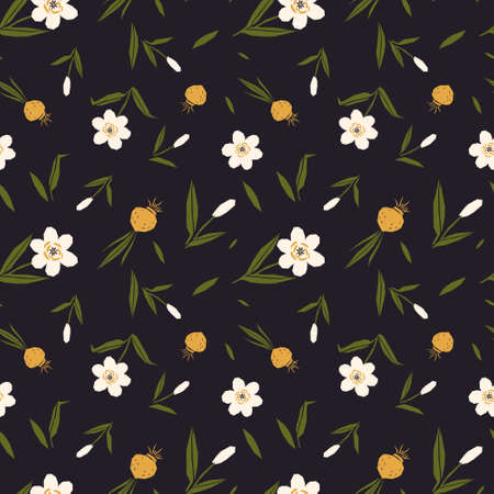 folk art style vintage retro vibe daffodil seamless repeated pattern in dark blue background