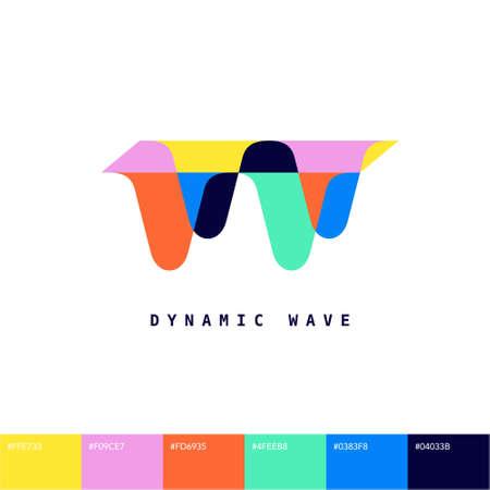 Dynamic Wavy shape visual identity company logo trademark with vibrant color scheme graphic design element