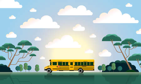 back to school, bus in the sunlight illustration with clouds and forest, cartoon, go to school, reopening, dusk, sunset, sunrise, dawn, trees, barks, branches, bushes, schoolbus, vehicle