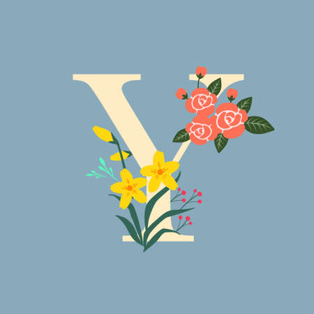 Whimsical floral botanical monogram alphabet-capital Y vector elements with steel blue background and cream color type
