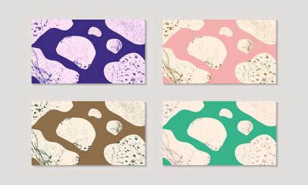 organic texture abstract shapes pattern background for video chat, virtual conference, meeting, wallpaper. set of four. purple blue, blush pink, brown, green.