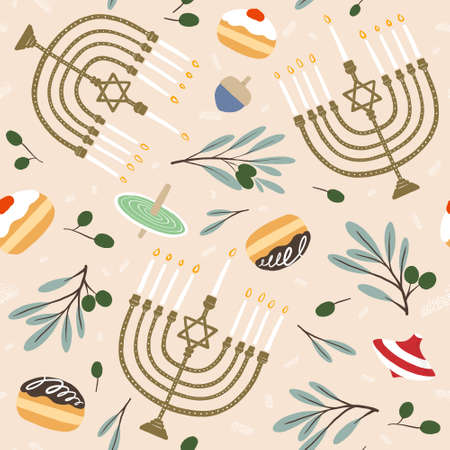 Hanukkah festival of lights menorah theme seamless illustration surface pattern. wrapping paper, gift wrap, background, event advertise, fabric, greeting card. social media marketing material. 版權商用圖片 - 154580866