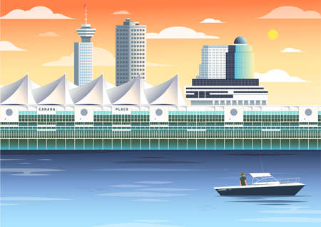 Metro Vancouver Canada Place tourist attraction illustration, sunset scene, Pan Pacific, Five Sails, restaurant, downtown, British Columbia, Lower Mainland