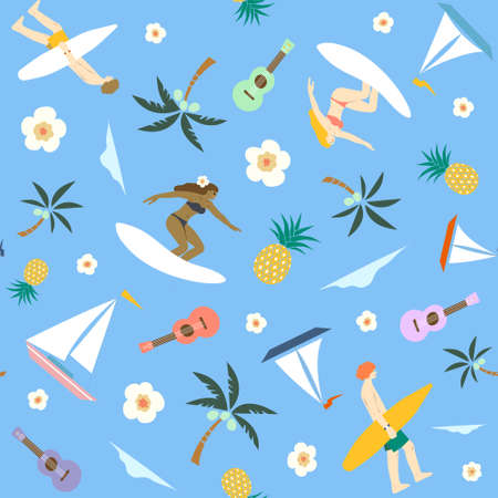 the hidden Hawaii surfing girls and boys seamless pattern for surface design, wallpaper, gift wrap, wrapping paper, ukulele, tropical theme, sail boats, pineapple, coconut trees, palm trees, beach