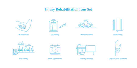 Injury rehabilitation vector monoline icon set muscle strain, counseling, motor vehicle accident, insurance, goal setting, journaling, eco-friendly, massage therapy, carpal tunnel syndrome