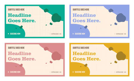 Channel video thumbnail template set of four, social media graphic resources. Fashion trendy abstract style background with placeholder texts pastel colour palette, organic abstract