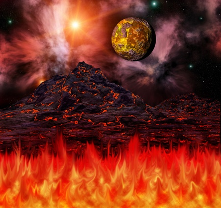 mountain holidays: tropical fire Stock Photo
