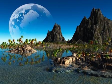 soledad: paisaje de fantasía de colores Foto de archivo