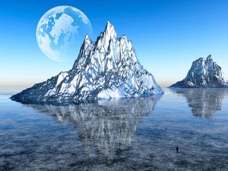 abandonment: fantastic ice desert Stock Photo