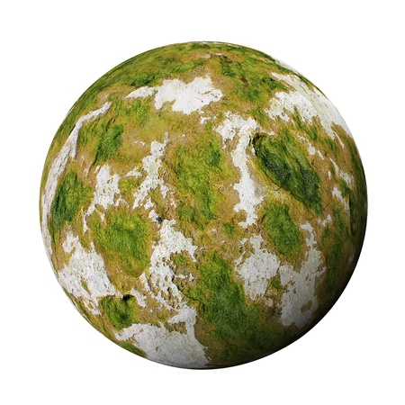moss: Stone sphere covered with moss