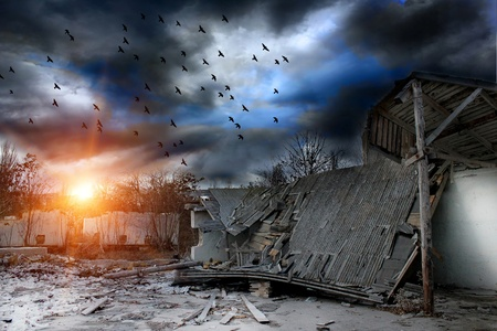home destruction:  Gloomy apocalypse landscape