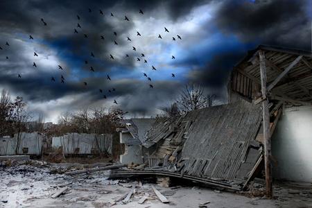 guerra: Panorama sombr�o Apocalipsis Foto de archivo