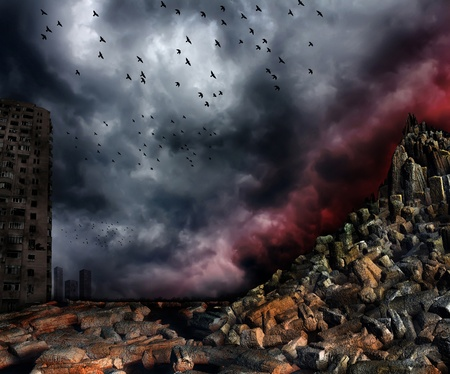 Gloomy apocalypse landscape photo