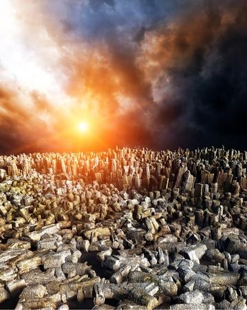 Düstere Landschaft Apokalypse Standard-Bild