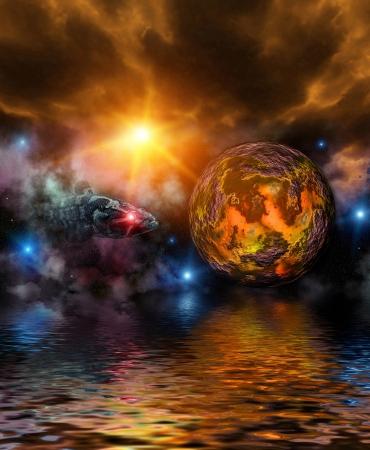 幻想的な宇宙 写真素材